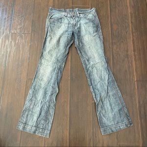 Diesel women's chambray casual bootcut pants 28
